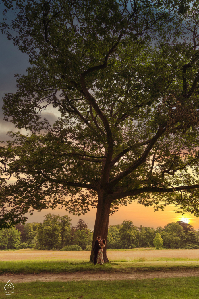 Engagement Picture Session Under a big oak in a park at Beervelde in Belgium - couple who will mary this year