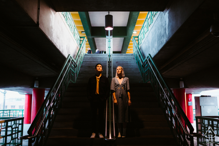 Engagement Picture Session from China Town, Los Angeles - Making use of the awesome light at the Metro Station
