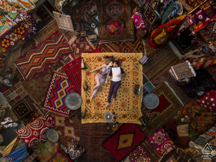 Couple Engagement Photos | cappadocia turkey casual session from above