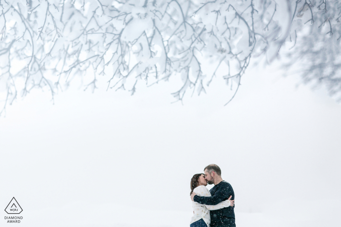 Engagement Photography Session from the France mountains - couple kissing in mountains