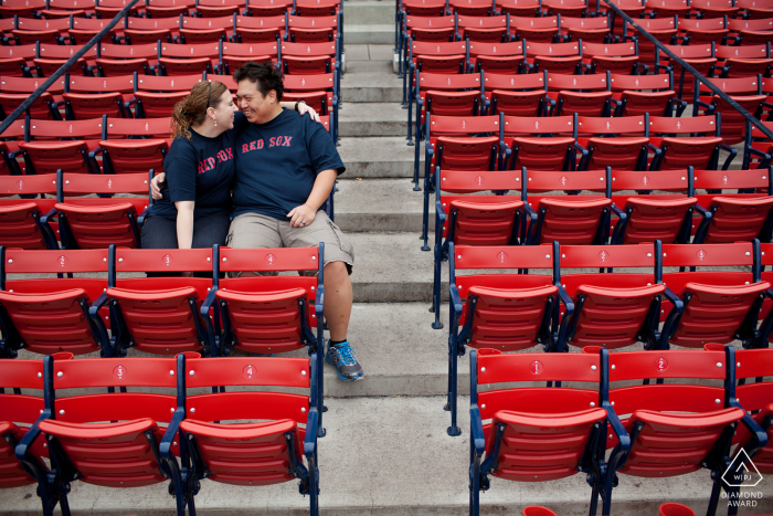 Engagement Picture Session at Fenway Park, Boston MA - Couple sitting in stands