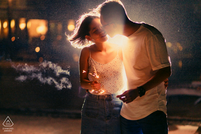 Mui Ne, Vietnam engagement photography - Kiss me in the smoke of our fireworks