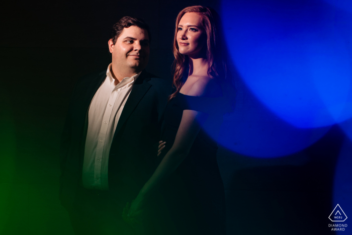 Engagement Photos | National Gallery of Art - Portrait of the couple with bokeh
