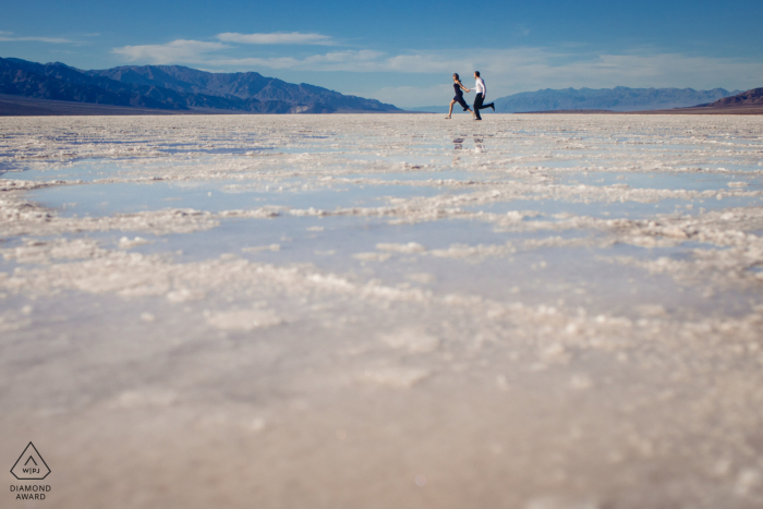 Engagement Picture Session | Having fun in Badwater Basin, Death Valley