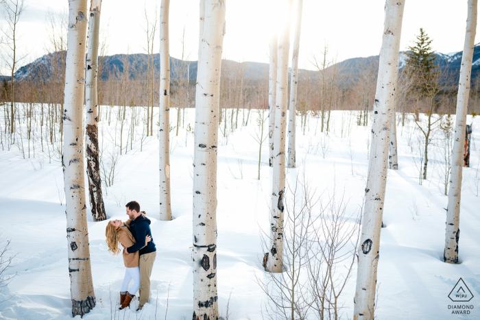 Silverthorne, CO winter aspen engagement session