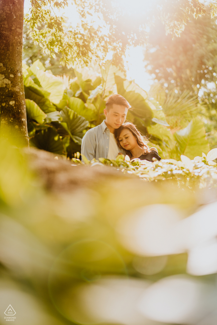 "Singapore engagement photographer: ""The setting sun falls through the foliage created a warmth fuzzy feel as my couple embraced each other. """