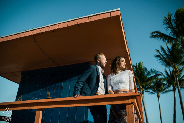 Engagement portrait session in sunny South Beach Miami