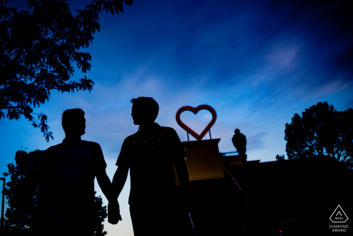 Baltimore Maryland Photographer: We saw a heart on top of a building pulled over for a beautiful silhouette.