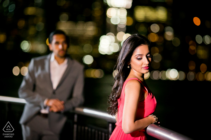 Exchange Place, NJ engagement portrait   Night time shot with a Bollywood mood to it.