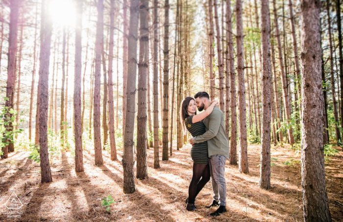 Engagement photo shoot amongst tall, narrow trees with the sunlit peeking through in Caledon, Ontario.