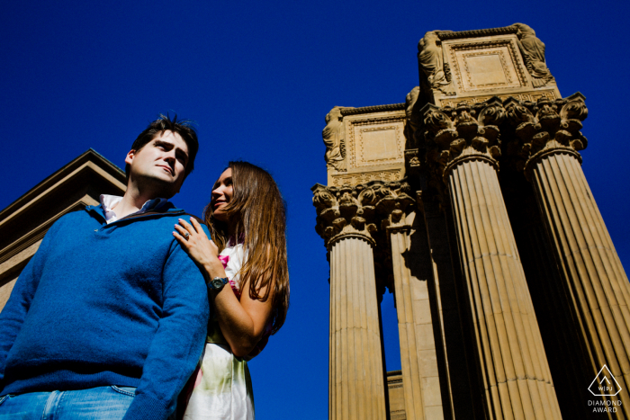 San Francisco pre wedding portraits with a Couple at the Palace