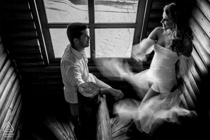 Santa Teresa, Espírito Santo, Brazil indoor black and white session with a slow shutter and blur dress