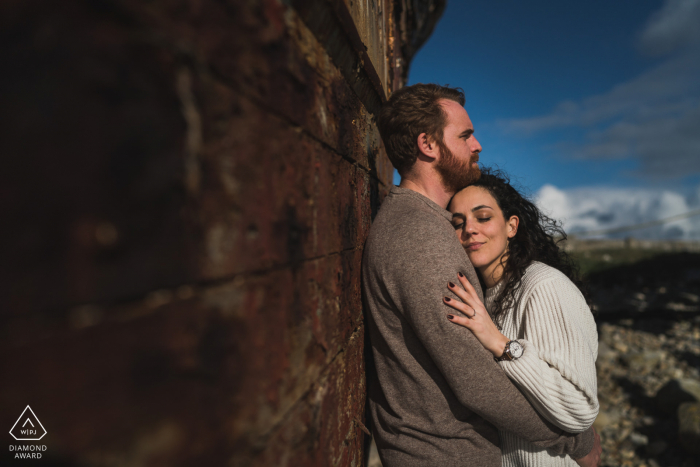 Crozon, France engagement couple portrait in warm afternoon sunlight
