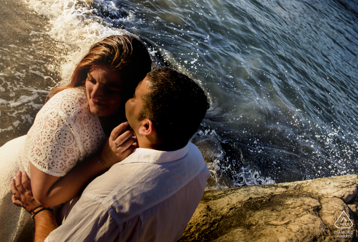 Aguilas Spain prewedding Afternoon portrait session at the beach above the water