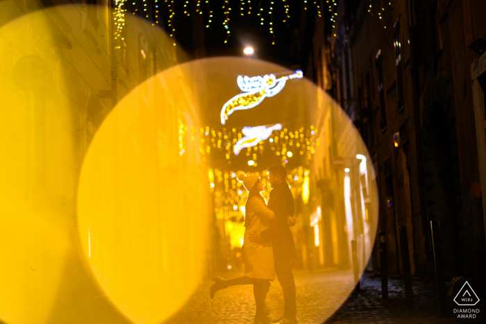 Rome, Italy engagement shoot at night - This photograph has been shot on Nikon Noct f0.95 lens. The bokeh is clean and lovely plus this lens can see at night!