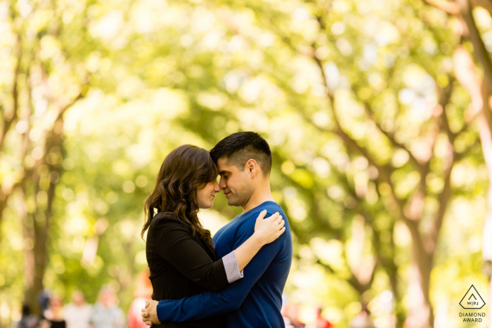 Central Park, New York City engagement photographer - Let's put our heads together!