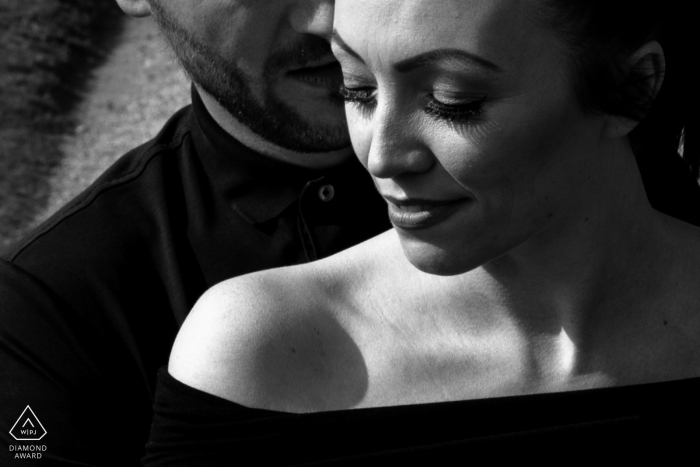 Staffordshire Harsh light black and white couple portrait for these 2 young lovers