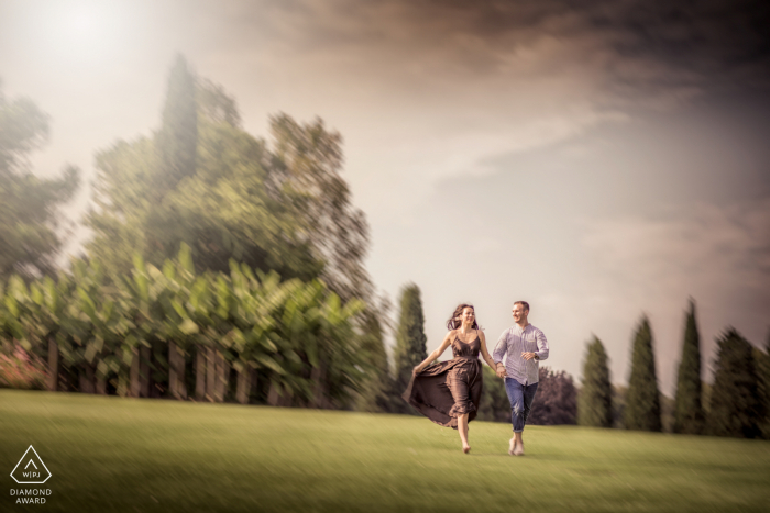 Giardini Sigurtà, Valeggio sul Mincio, Italy couple enjoys the park during an engagement shoot