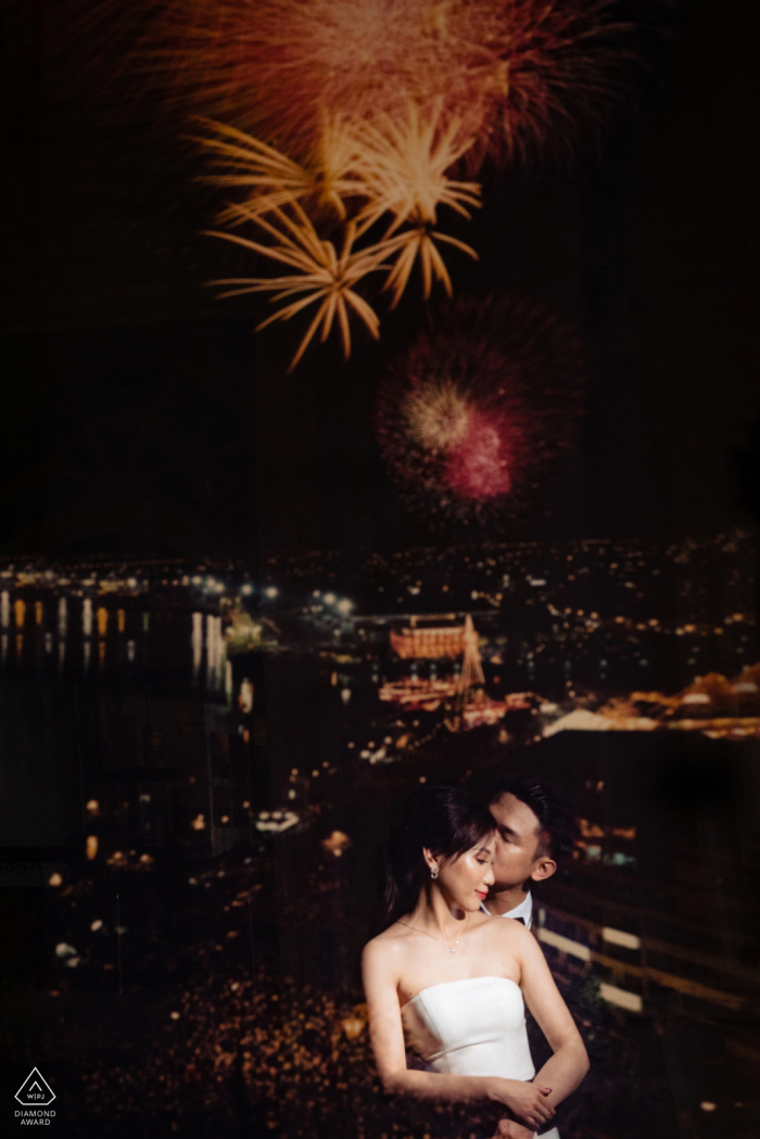 Ho Chi Minh City prewedding shoot with fireworks at night