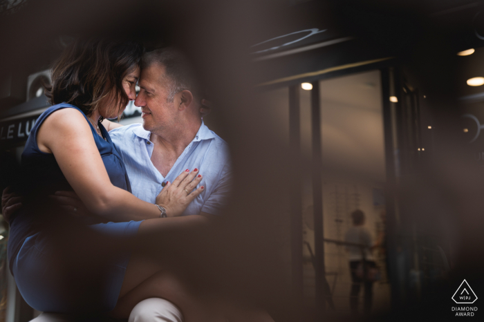 Agen, France engagement photography of a couple and reflections