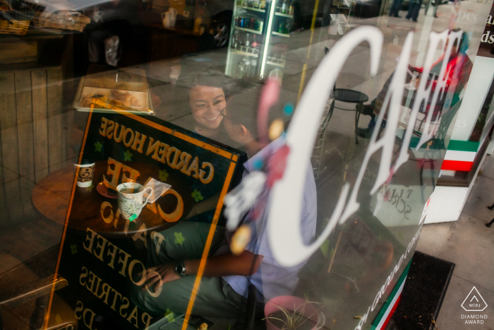 San Francisco CA Coffee aroma and love during glass reflection pictures for engagement display