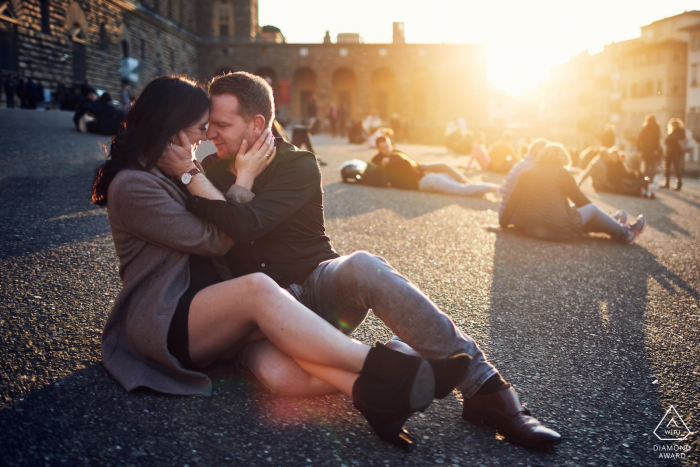 Town square couple engagement photos in Florence