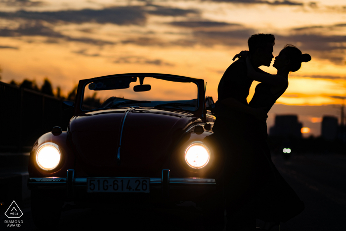 Vintage VW auto engagement picture session in Ho Chi Minh City