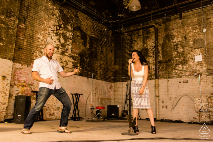 Rock and Roll engagement photography at Brooklyn, NY with an Air guitar jam session