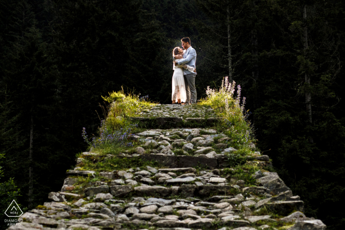 rize, turkey pre wedding photo in on a tower of stones with light