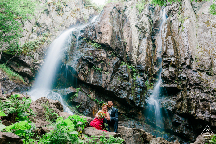 BG engagement photoshoot & pre-wedding session in a Vitosha mountain near Sofia, Bulgaria of Two lovers under the beauty of the Boyana waterfall