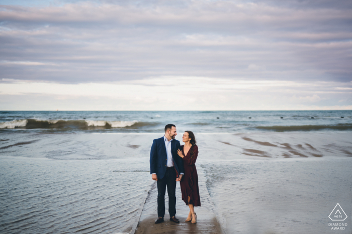Windy City pre-wedding photo session with an engaged couple at North Avenue Beach Chicago