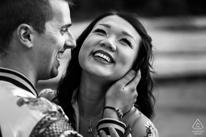IT pre-wedding photo session with an engaged couple at Lago del Predil, Udine, Italy with nothing but Smiles