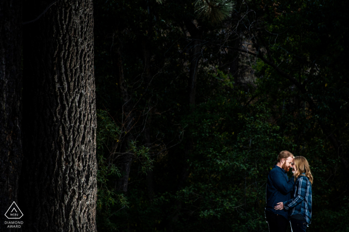 Reno, NV Couple snuggling during a pre-wed photoshoot with dark woods behind them