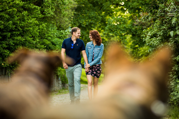 Brno engagement shoot session with some dogs posing as silent observers