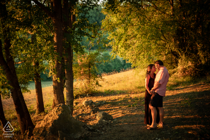 Nazère, Saint-Léornard, Gers, France outside forest picture session before the wedding day with A couple in the countryside