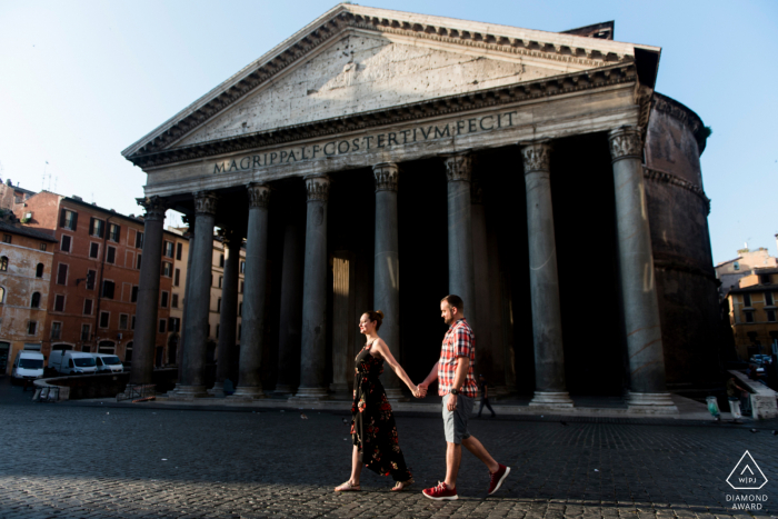 Pantheon, Rome mini urban pic shoot before the wedding day while walking in the Early morning