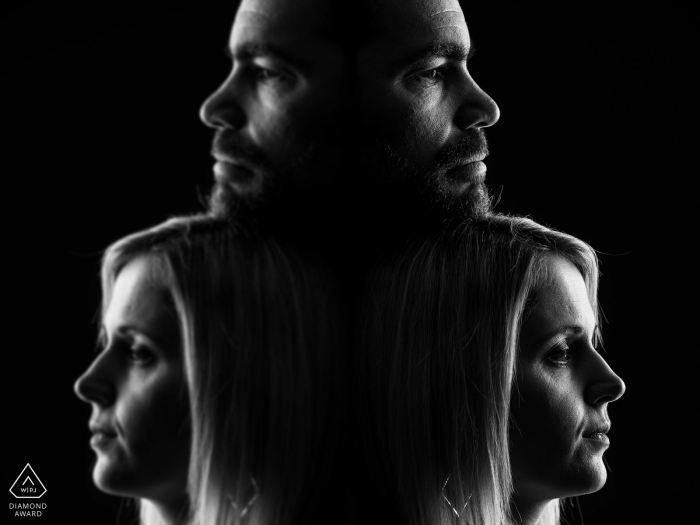 Grand Est mini couple symmetry photo session before the wedding day using Reflections and a black backdrop