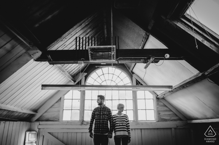 Gloucestershire portrait session in the upstairs attic space in BW