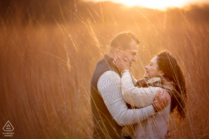 Caumsett State Park portrait session under the warm rays of sunlight and in the tall grass