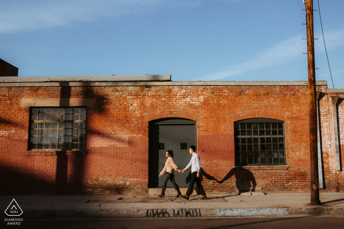 Arts District, DTLA urban couple portrait while going for a stroll
