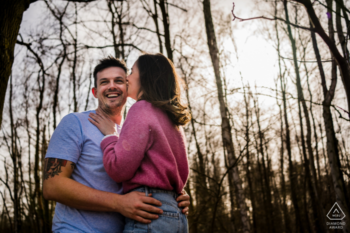 De wijers forest engagement photo shoot as the sun begins to set