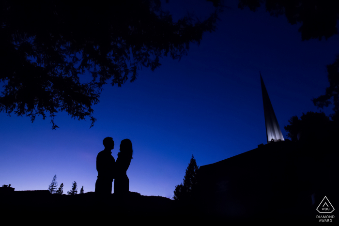 Los Gatos pre-wed portrait with The couple in the bluest hour