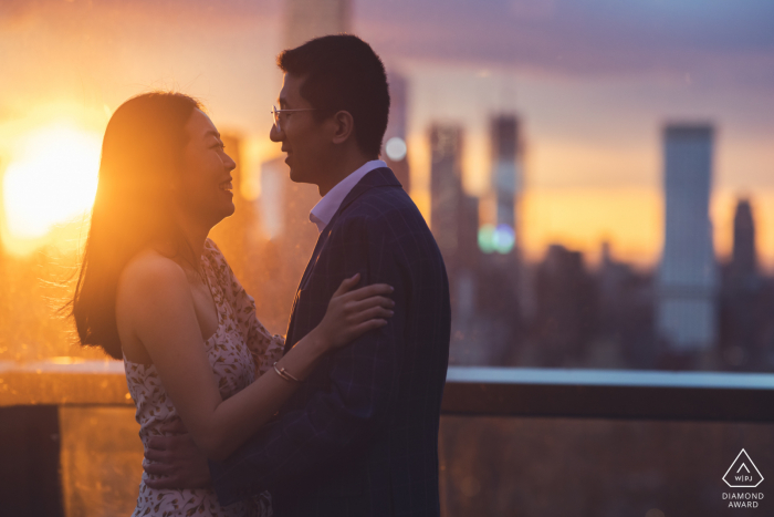Manhattan, NY Artful Engagement Picture right after a surprise proposal