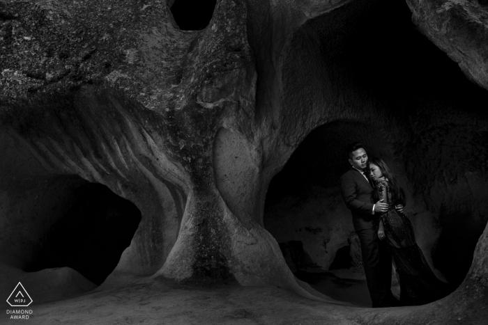 Cappadocia Pre Wedding Photoshoot in a Fine Art BW Style in Turkey