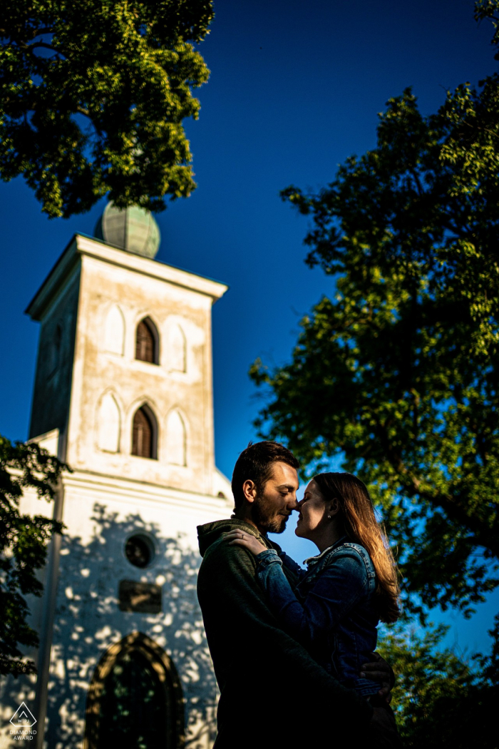 Ivančice Fine Art Pre Wedding Portrait Couple session by the old church on the hill