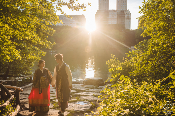 True Love Pre-Wedding Portrait Session in Central Park capturing a couple wearing Korean traditional outfits