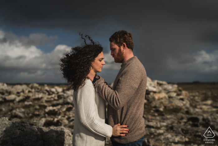 True Love pre wedding Photoshoot in Crozon of a couple enjoying the views of France
