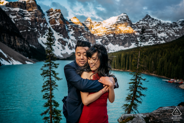 True Love Engagement Posed Portrait in Moraine Lake, Alberta capturing a couple who were just engaged