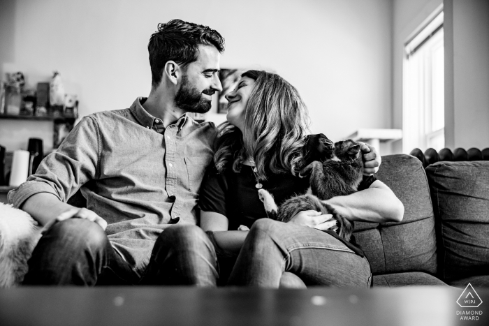 Chicago at-home couple e-session in BW with their cat