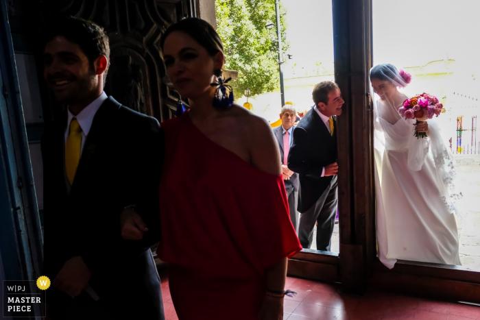 Bride and her father having fun before entering the wedding ceremony in San Miguel de Allende, Mexico